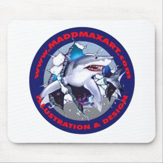 Gran logotipo del tiburón blanco de Maddmax Tapetes De Ratón