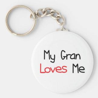 Gran Loves Me Basic Round Button Keychain