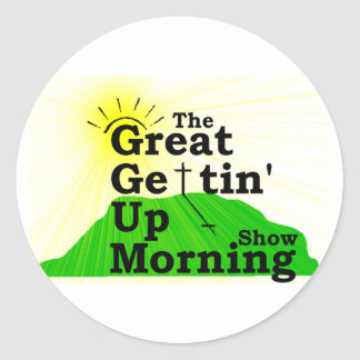 Gran mañana que se levanta etiqueta redonda