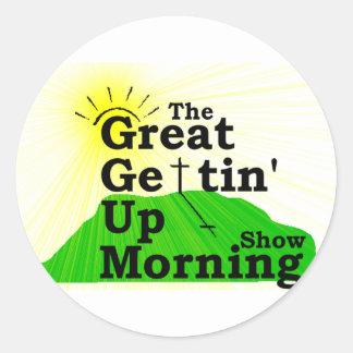 Gran mañana que se levanta etiquetas redondas