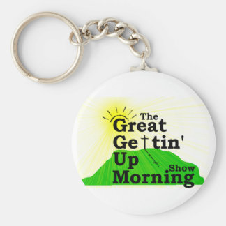 Gran mañana que se levanta llavero redondo tipo pin