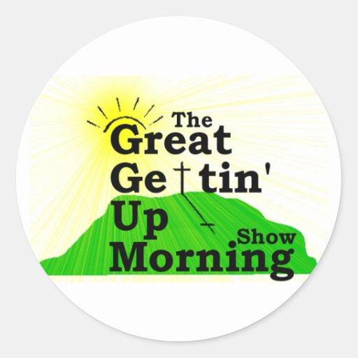 Gran mañana que se levanta pegatina redonda