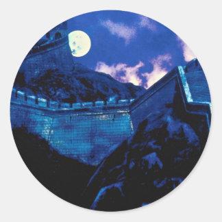 Gran Muralla de China con la luna Etiqueta