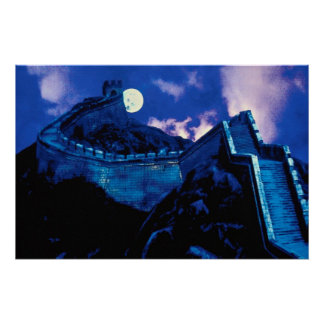 Gran Muralla de China con la luna Poster