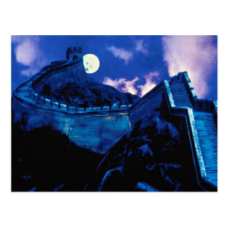 Gran Muralla de China con la luna Postales