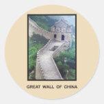 Gran Muralla de China Etiqueta Redonda