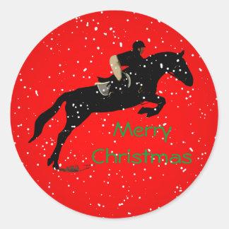 Gran navidad ecuestre de Jumpin Pegatina Redonda