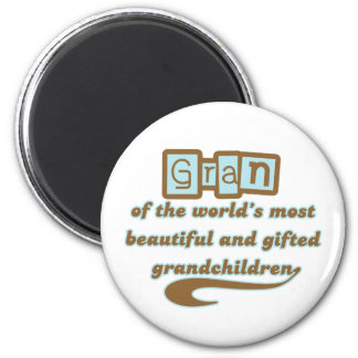 Gran of Gifted Grandchildren 2 Inch Round Magnet