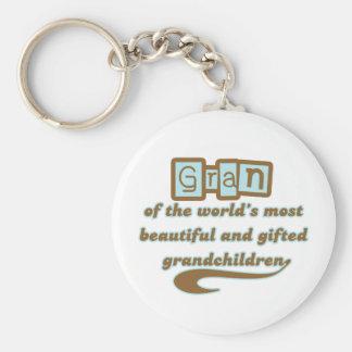 Gran of Gifted Grandchildren Basic Round Button Keychain