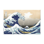 Gran onda de Hokusai del tsunami de Kanagawa Katsu Impresiones En Lona