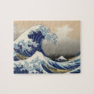 Gran onda de Hokusai del tsunami de Kanagawa Katsu Puzzles Con Fotos