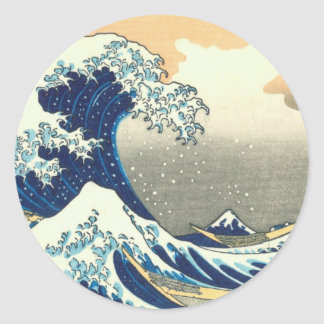 Gran onda de Hokusai Etiqueta Redonda