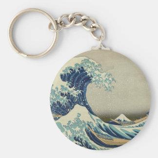 Gran onda de Kanagawa Llavero Redondo Tipo Pin
