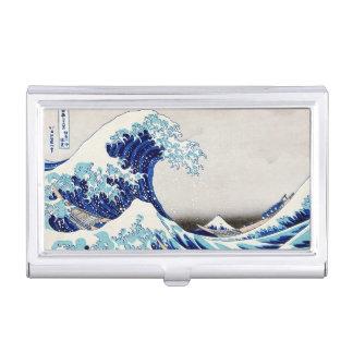 Gran onda de Kanagawa - tenedor de la tarjeta de v Caja De Tarjetas De Negocios