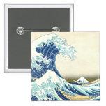 Gran onda de Katsushika del botón de Kanagawa Pin Cuadrado