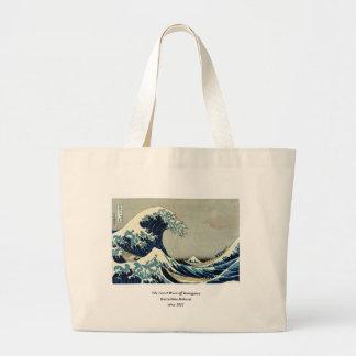 Gran onda de Katsushika Hokusai de Kanagawa Bolsa Tela Grande