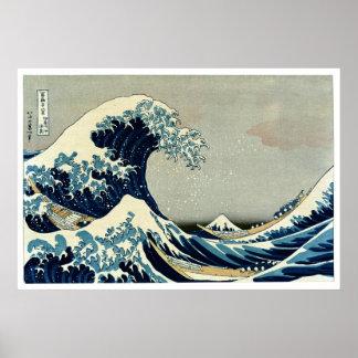 Gran onda de Katsushika Hokusai de Kanagawa Poster