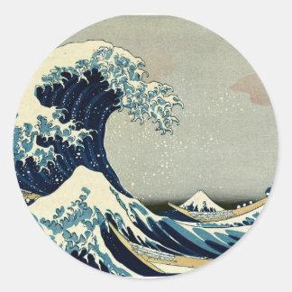 Gran onda de Katsushika Hokusai de Kanagawa Pegatinas Redondas