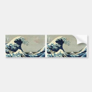 Gran onda de Katsushika Hokusai de Kanagawa Pegatina Para Auto