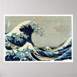 Gran onda de Katsushika Hokusai de Kanagawa Póster