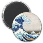 Gran onda de la bella arte de Kanagawa Hokusai Imán Redondo 5 Cm