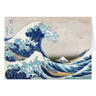 Gran onda de la bella arte de Kanagawa Hokusai Tarjeta Pequeña
