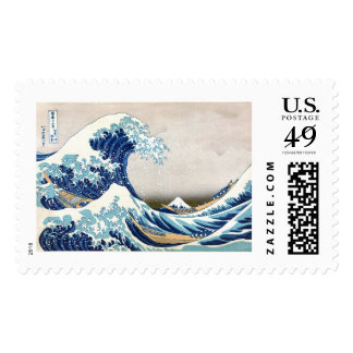 Gran onda de la bella arte de Kanagawa Hokusai Timbres Postales