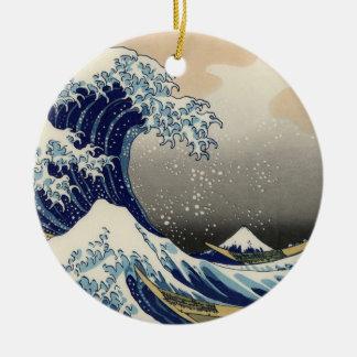 Gran onda de la bella arte de Kanagawa Oriental Adorno Navideño Redondo De Cerámica