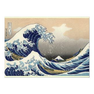 Gran onda de la bella arte de Kanagawa Oriental Invitación Personalizada