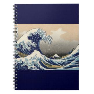 Gran onda de la bella arte de Kanagawa Oriental Libreta Espiral