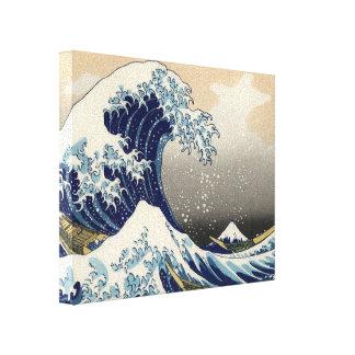 Gran onda de la bella arte de Kanagawa Oriental Impresiones En Lona Estiradas