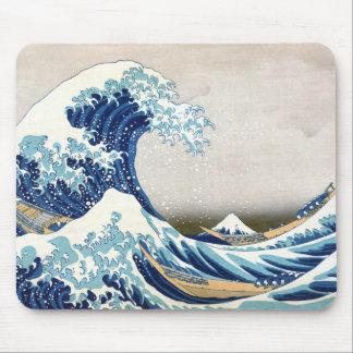 Gran onda de la bella arte del japonés de Kanagawa Tapete De Ratones