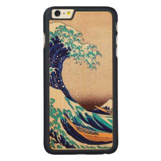 Gran onda de la bella arte japonesa del vintage de funda de arce carved® para iPhone 6 plus slim