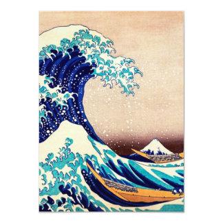 Gran onda de la bella arte japonesa del vintage de invitación 11,4 x 15,8 cm