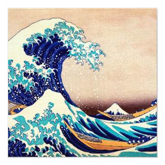 """Gran onda de la bella arte japonesa del vintage de invitación 5.25"""" x 5.25"""""""