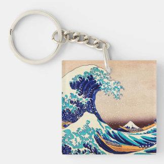Gran onda de la bella arte japonesa del vintage de llavero cuadrado acrílico a doble cara