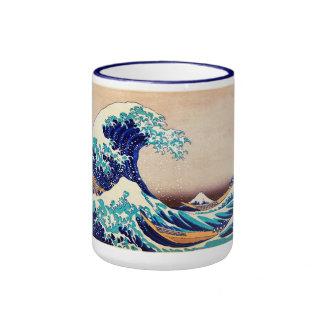 Gran onda de la bella arte japonesa del vintage de taza de dos colores