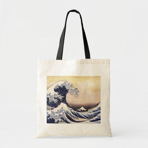 Gran onda de la impresión de Woodblock del japonés Bolsa Tela Barata