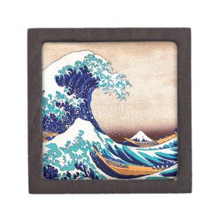 Gran onda de la impresión de Woodblock del japonés Caja De Joyas De Calidad