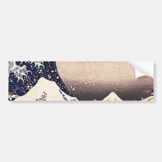 Gran onda de la impresión de Woodblock del japonés Pegatina De Parachoque
