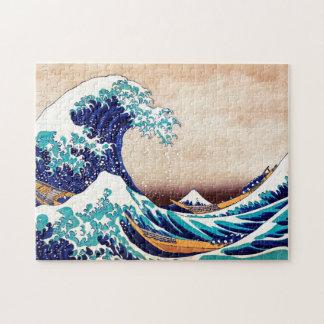 Gran onda de la impresión de Woodblock del japonés Rompecabeza Con Fotos