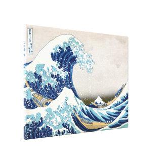 Gran onda de la multa japonesa del vintage de impresión en lienzo estirada