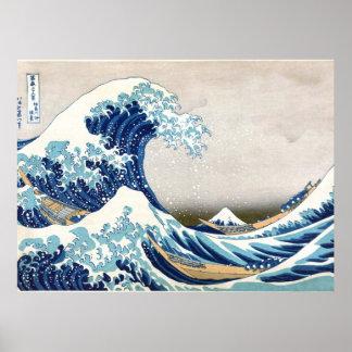Gran onda de la multa japonesa del vintage de póster