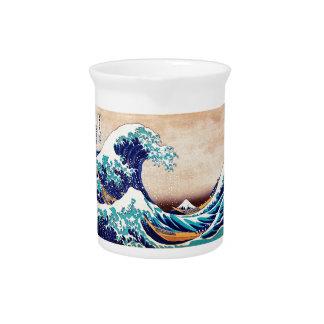 Gran onda del arte de la impresión del japonés del jarras de beber