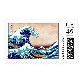 Gran onda del arte de la impresión del japonés del sello postal