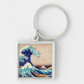Gran onda del arte japonés de la impresión del llavero cuadrado plateado