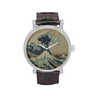 Gran onda del arte japonés del vintage de Kanagawa Relojes De Pulsera