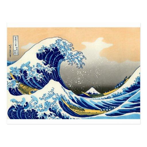 Gran onda del ~ Hokusai de Kanagawa Postal