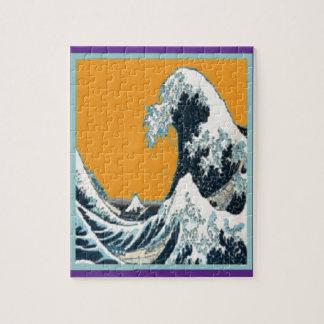Gran onda moderna en almohada anaranjada por SHARL Rompecabezas Con Fotos