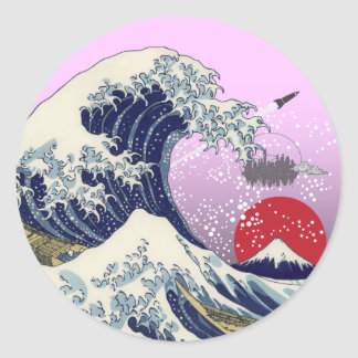 Gran onda etiqueta redonda